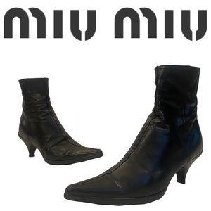MIU MIU black leather kitten heel ankle boots